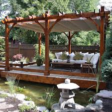 desirable natural outdoor patio pergola roof offer natural pond