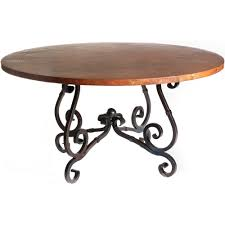french iron dining table with 72 in round hammered copper top