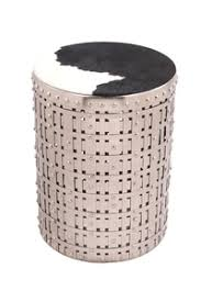 Silver Accent Table Latticed Silver Metal Table Cowgirl With Cow Hide Fitted Top