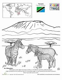 color the world mt kilimanjaro geography worksheets and