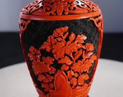 Cinnabar Vases Asian Cinnabar Vase Etsy