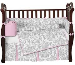 Gray Baby Crib Bedding Pink Gray And White Elizabeth Damask Baby Bedding And 9pc Crib