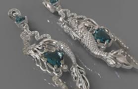 mermaid earrings 3d print model earrings mermaid and neptune cgtrader
