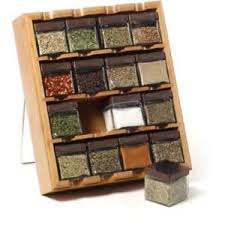 16 cube bamboo spice rack kitchen organizer glass jars canister