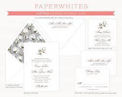 cotton wedding invitation s paperwhites wedding invitations