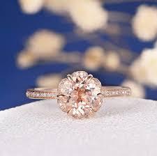 unique rose gold morganite engagement ring art deco wedding