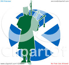 clipart of a green silhouetted scot piper holding bagpipes over a