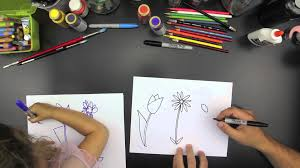 how to draw three spring flowers for younger kids youtube