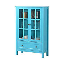 China Cabinet Modern French Modern Glass Curio Display China Cabinet In Turquoise Paint
