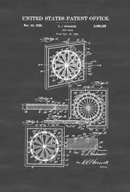 dart board patent 1936 patent print wall decor game art game