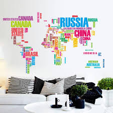 Home Design Stores Australia Sale Colorful Letter World Map Quote Removable Vinyl Decal