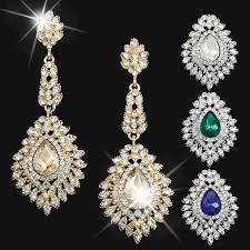 cubic zirconia earrings bridal earrings gold plated chagne cubic zirconia drop