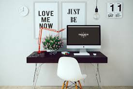 free download cool workspace with imac presentation mock up