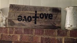 cross home decor reclaimed wood pallet wood wood sign love with cross home