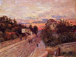 sunset at port marly 1876 alfred sisley wikiart org
