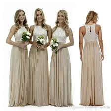 long champagne chiffon bridesmaid dresses lace beach