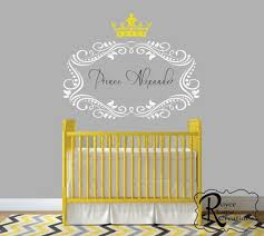 Boys Nursery Wall Decals Name With Crown For Baby Boys Or Baby Nursery Decal 32x25