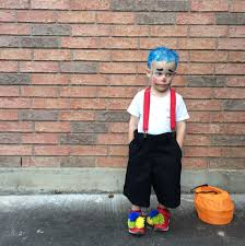 diy kids boy clown halloween costume yarn pom poms suspenders