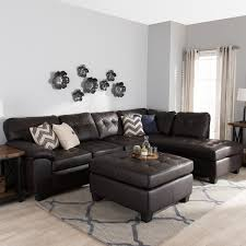 Brown Leather Sectional Sofa with Baxton Studio U0027mario U0027 Brown Leather Sectional Sofa With Ottoman