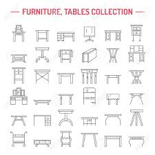 dinner silhouette vector furniture line icons table symbols silhouette of