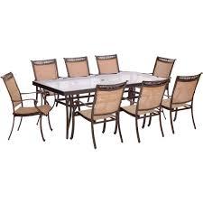 hanover fontana 9 piece aluminum rectangular outdoor dining set
