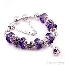 bracelet charm crystal images Purple crystal bracelet crown tassel retro bracelet european and jpg