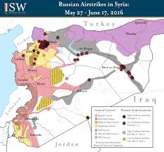 Syria Battle Map by Isw Blog Russian Airstrikes In Syria May 27 June 17 2016