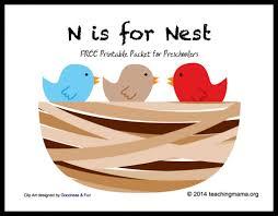 n is for nest letter n printables