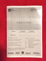hitachi le43a509 led hdtv remote owners guide power cord screws