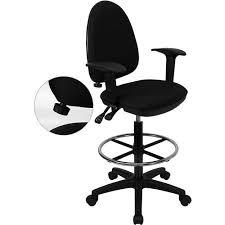 Adjustable Drafting Chair Mesh Back Drafting Stool With Arms And Adjustable Lumbar Black