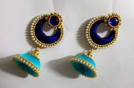thread earrings light blue and blue silk thread earrings fashionous