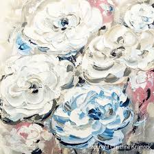white blue roses original abstract flower painting white blue