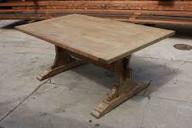 reclaimed wood trestle dining table classic wooden trestle