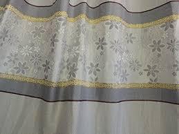 Striped Curtain Panels Horizontal Wide Width Elegant Jacquard Gray With Gold Horizontal Stripe