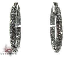 black diamond hoop earrings 2 row black diamond hoops earrings style gold 14k