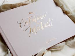 wedding guest book gold foil wedding guestbook custom