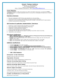 Best Resume Templates In India by Resume Format For Sap Fico Freshers