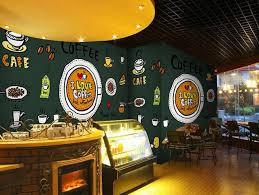 custom retro wallpaper coffee icon 3d cartoon murals for the cafe