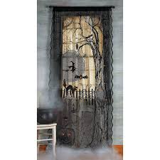 amazon com halloween spooky lighted lace curtain panel home