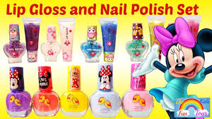 disney minnie mouse nail art collection and 12 pack lip gloss and