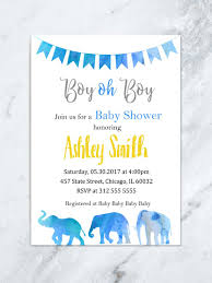 boy oh boy elephant baby shower invitation safari theme baby