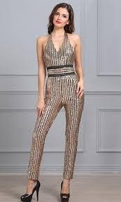 black and gold jumpsuit theater gold black sequin stripe sleeveless v neck