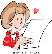 clipart of a happy reading a letter royalty free
