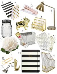 black white gold office decor