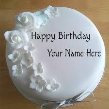 write white roses birthday cake lover