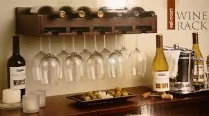 amazon com wall mount wine rack holds 6 wine bottles home u0026 kitchen