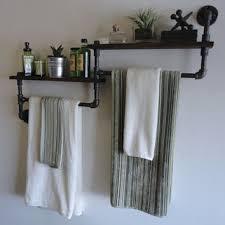 Bathroom Shelves For Towels Industrial Bathroom Shelf Towel Rack Combo The Deuce Projets