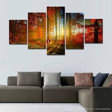 Living Room Canvas | 5 panel forest painting canvas wall art picture home decoration for