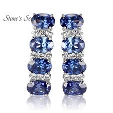 tanzanite earrings 925 sterling silver tanzanite earrings for women blue