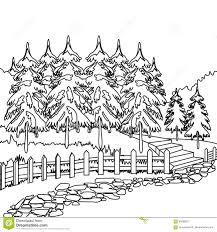 forest pathway coloring page stock illustration image 86598673